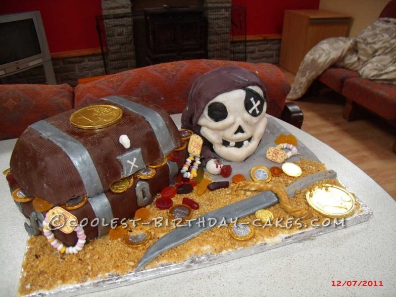Coolest Treasure Chest and Pirate Skull  Cake