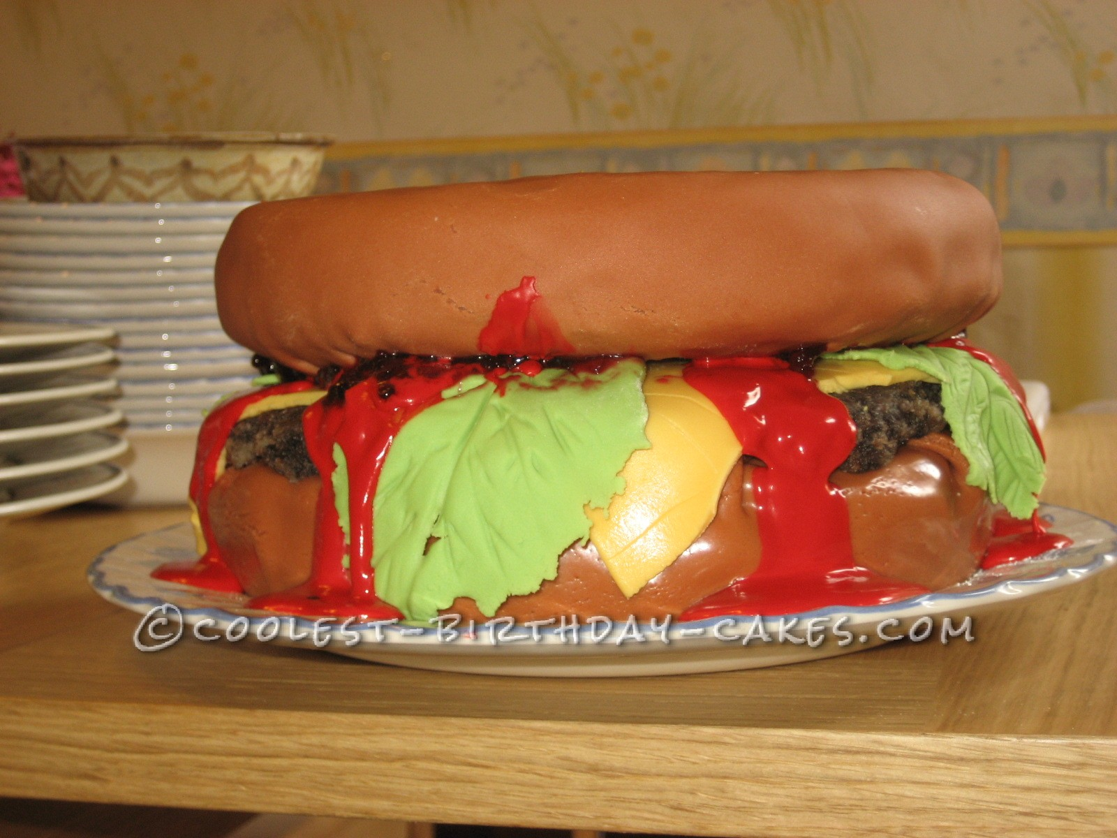 Side view of hamburger cake