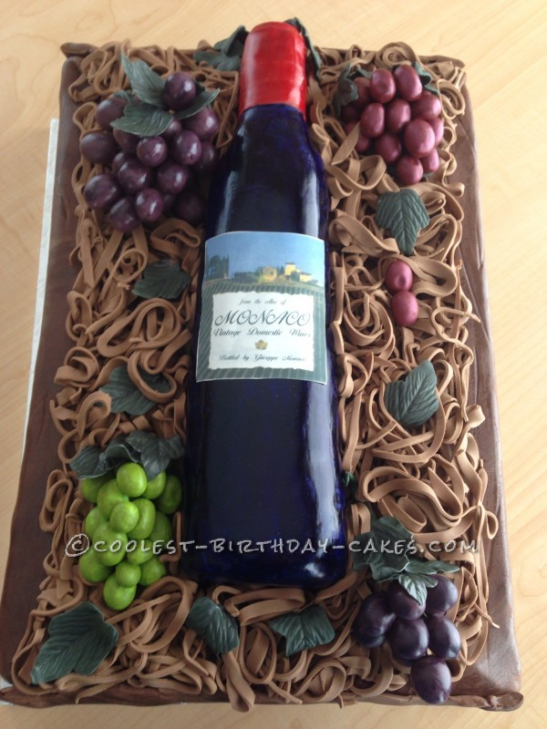 Italian Wine and Grapes Birthday Cake