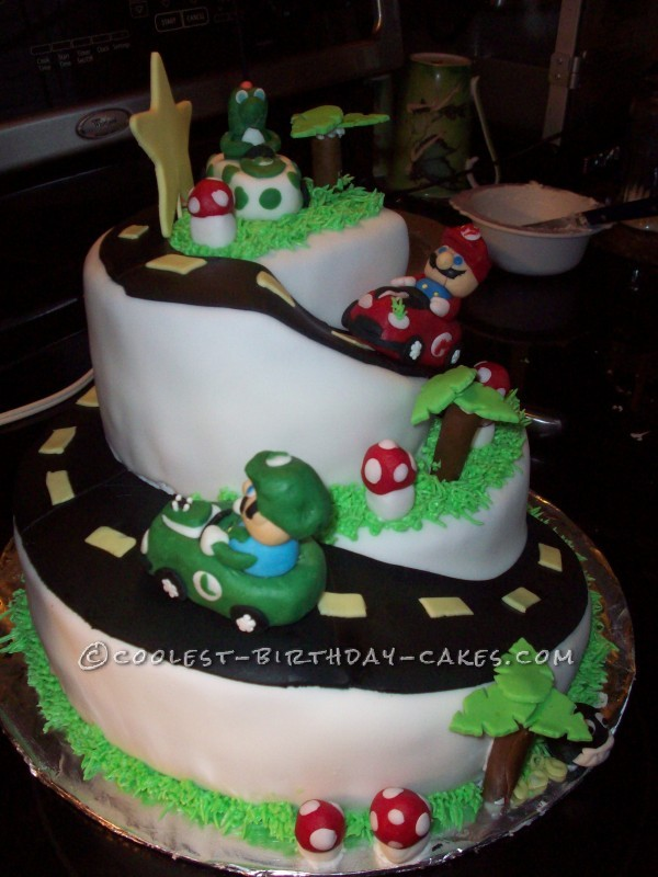 Admirable Cool Homemade 2 Tier Mario Kart Cake Personalised Birthday Cards Sponlily Jamesorg
