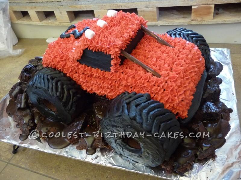 Phenomenal Muddy Monster Truck Birthday Cake Personalised Birthday Cards Sponlily Jamesorg