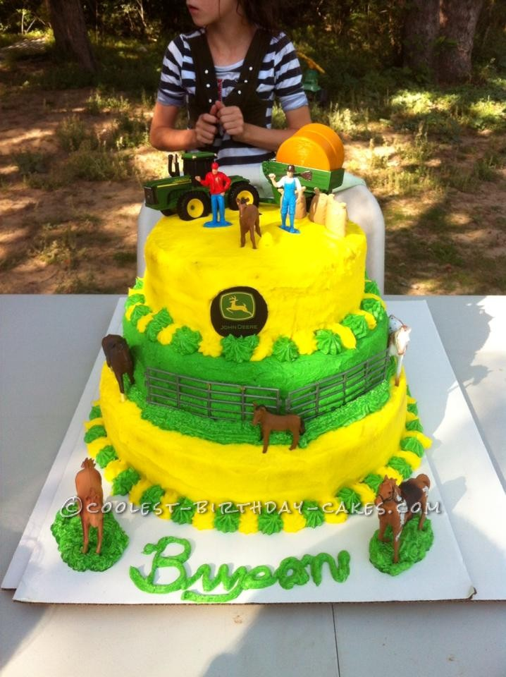 Tremendous Coolest John Deere Birthday Cake Personalised Birthday Cards Veneteletsinfo