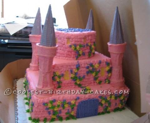 Pretty Pink Princess Castle Cake