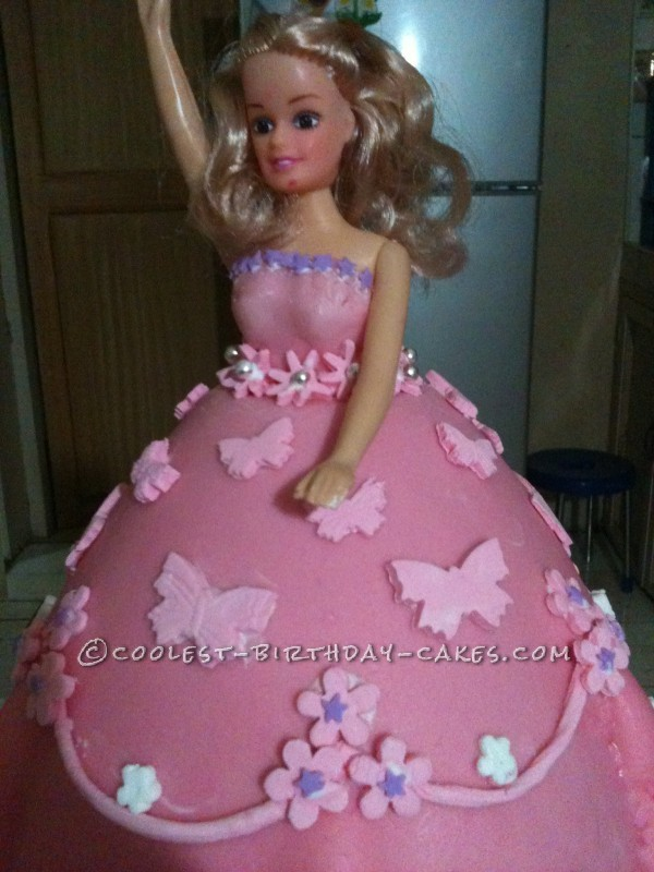 Cool Homemade Princess Doll Cake With Pink Dress