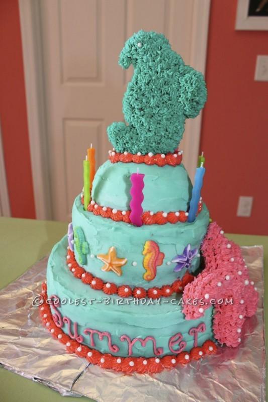 Enjoyable Coolest Seahorses And Starfish Birthday Cake Personalised Birthday Cards Akebfashionlily Jamesorg