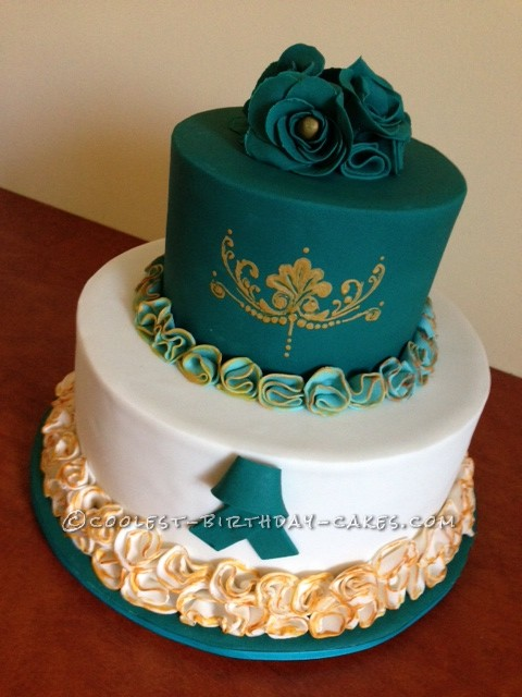 Coolest Teal and Gold Cake