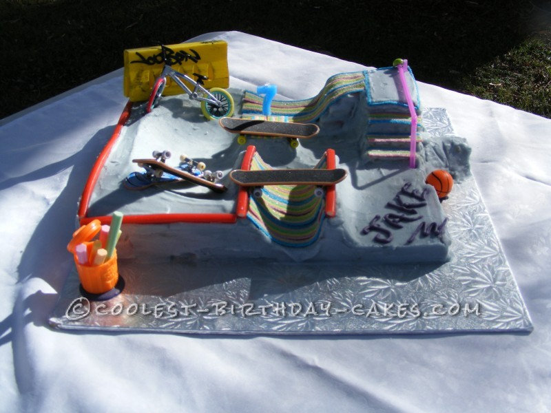 the coolest skate park cake (according to Jake)