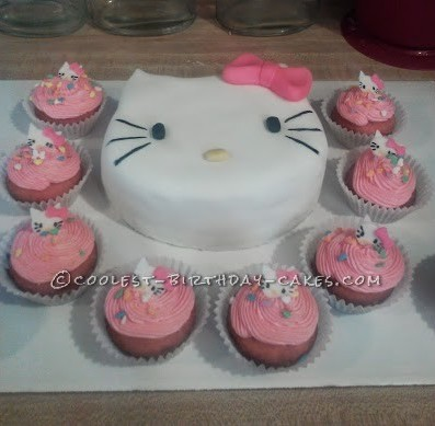 Adorable Hello Kitty Cake and Cupcakes