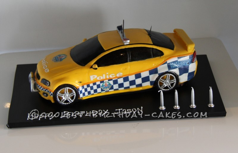 Police car cake side view