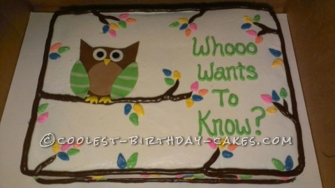 Coolest Gender Reveal Owl Cake