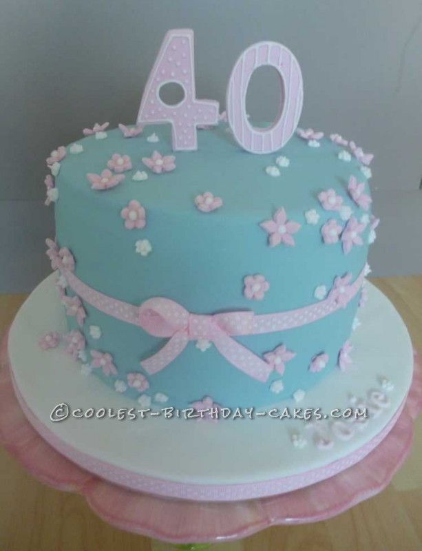 Pretty Pink And Blue 40th Birthday Cake