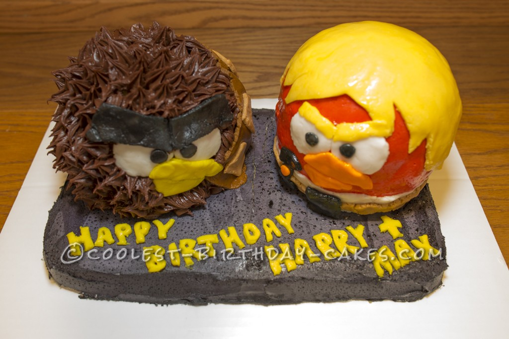 Angry Birds Star Wars Cake with Luke and Chewbacca