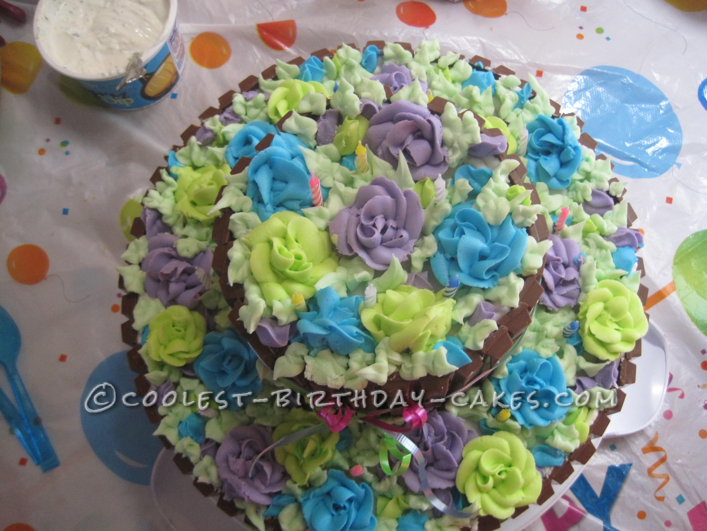 Awesome Sweet 16 Birthday Flower Basket Cake