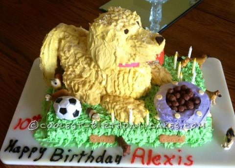 Coolest Big Yellow Fun Dog Birthday Cake