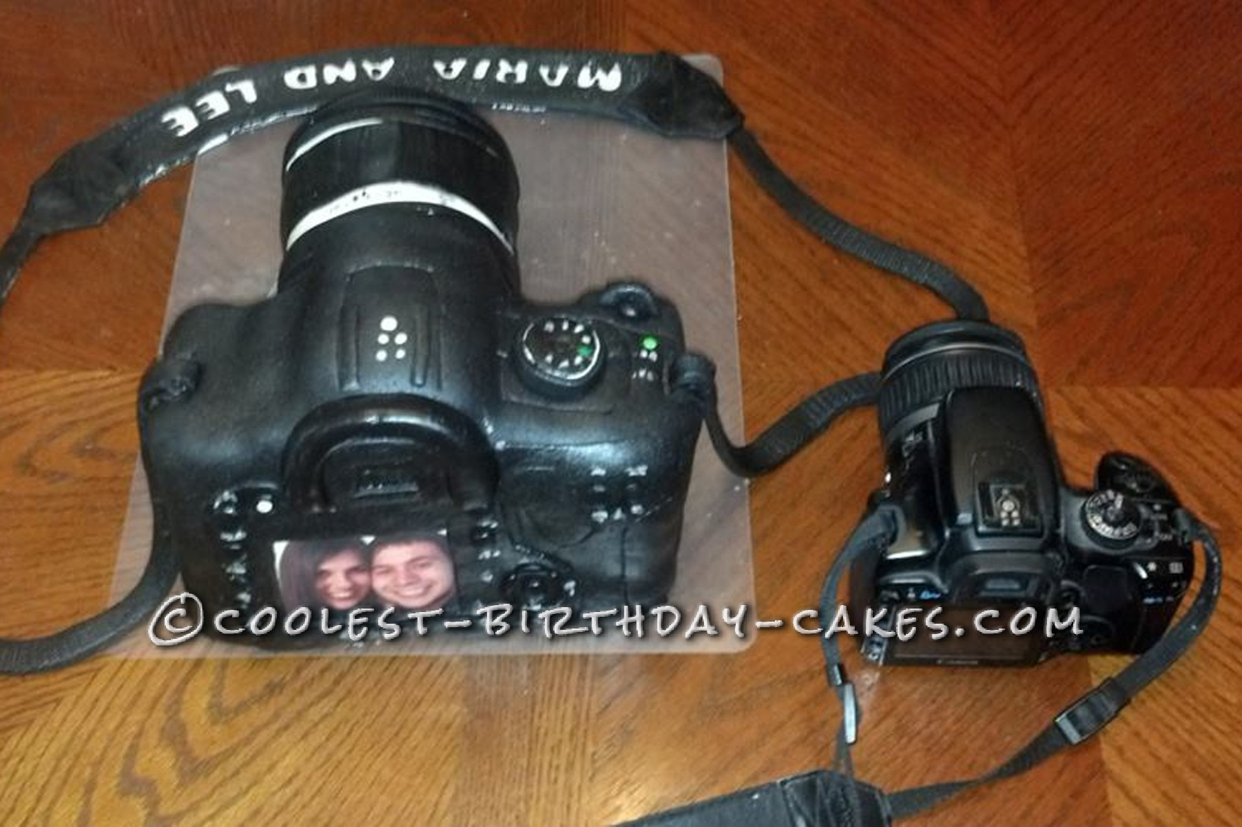 Back Top of Camera Cake in comparision with a real camera