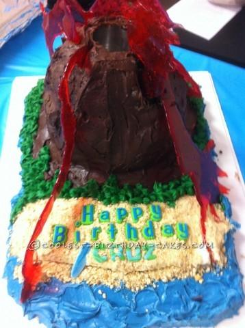 Coolest Erupting Volcano Birthday Cake