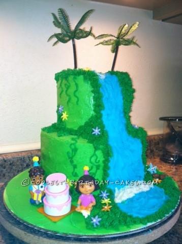 Coolest Dora Waterfall Birthday Cake
