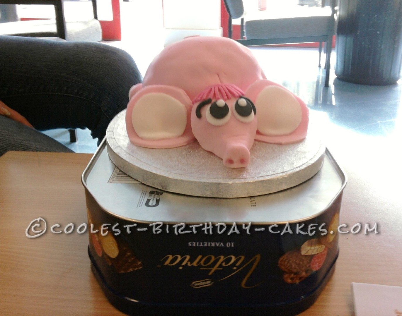 Adorable Homemade 3D Pink Elephant Birthday Cake