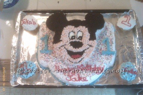 Jake's 1st Birthday Mickey Cake