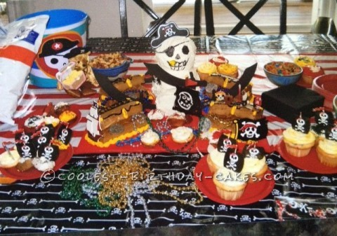 Coolest Pirate and Skeleton Birthday Cake and Cupcakes