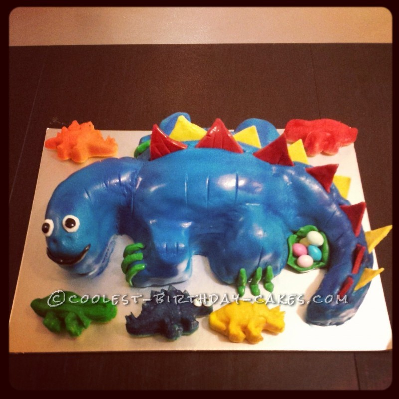 Coolest Blue Stegosaurus Birthday Cake
