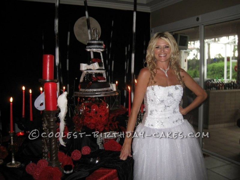 Cool 40th Black and White Phantom of the Opera Birthday Cake