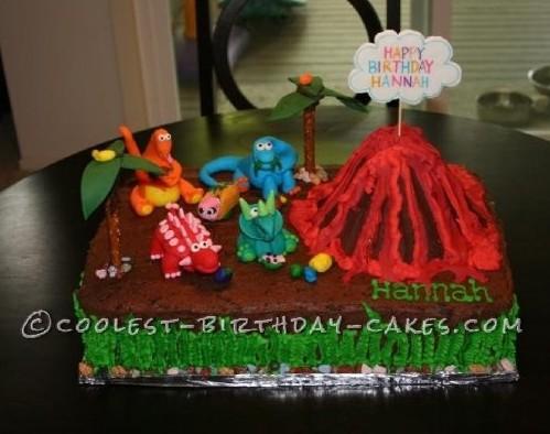 Marvelous Cute Homemade Dinosaur Birthday Cake With Volcano Funny Birthday Cards Online Overcheapnameinfo