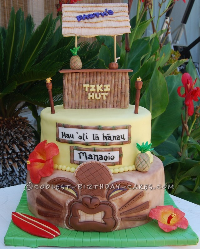 Fine Coolest Hawaiian Luau Birthday Cake Funny Birthday Cards Online Elaedamsfinfo