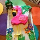 Coolest Flamingo Hawaii Tropical Theme Cake