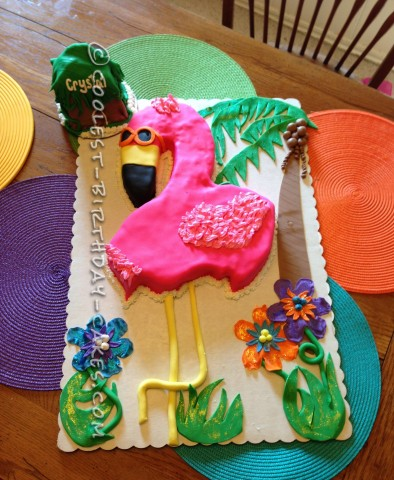 Coolest Flamingo Hawaii Tropical Theme Cake