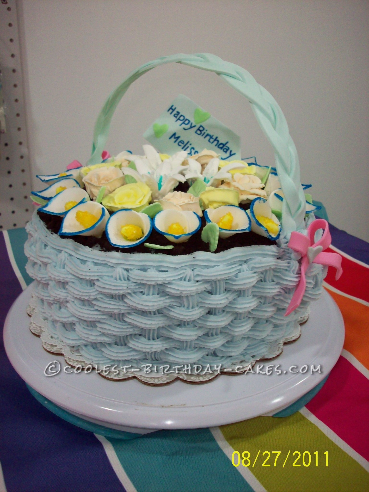 This Flower Basket Birthday Cake Is One Of My Favorite Cakes To Date We Made For A Friends Very Cute And Girly