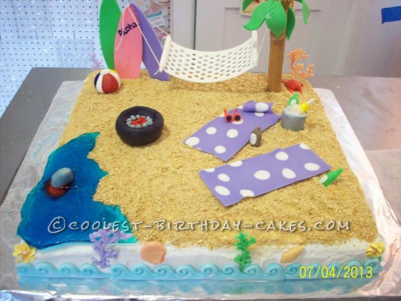 Superb Coolest Homemade Beach Scene Cakes Birthday Cards Printable Benkemecafe Filternl