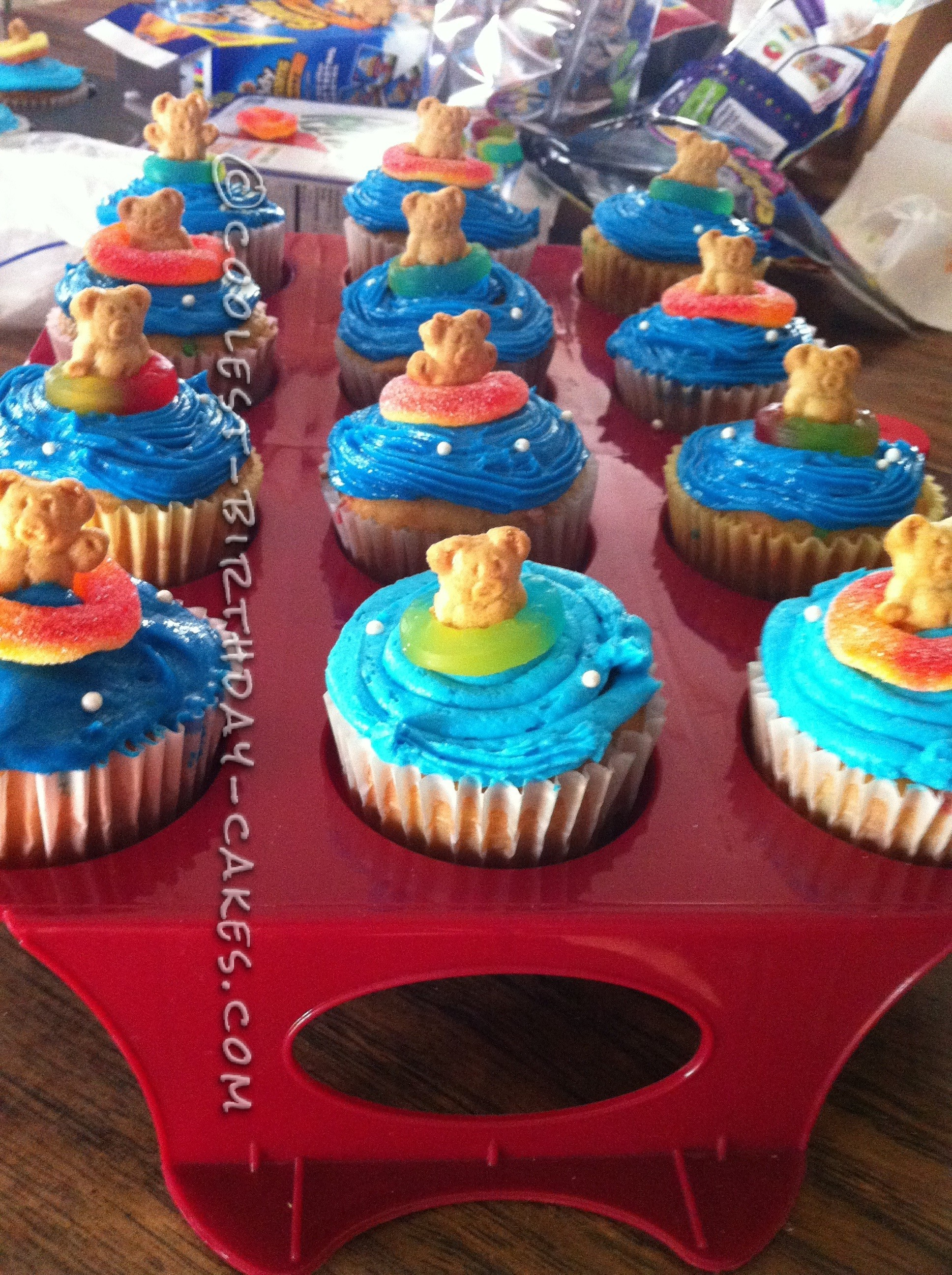 All the cupcakes had swimmers in ring floats