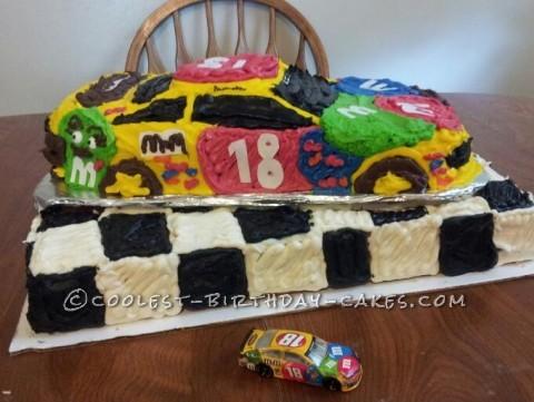 Coolest M&M Race Car Cake