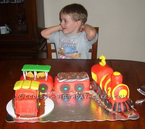 Coolest Red and Yellow Fondant Train Cake