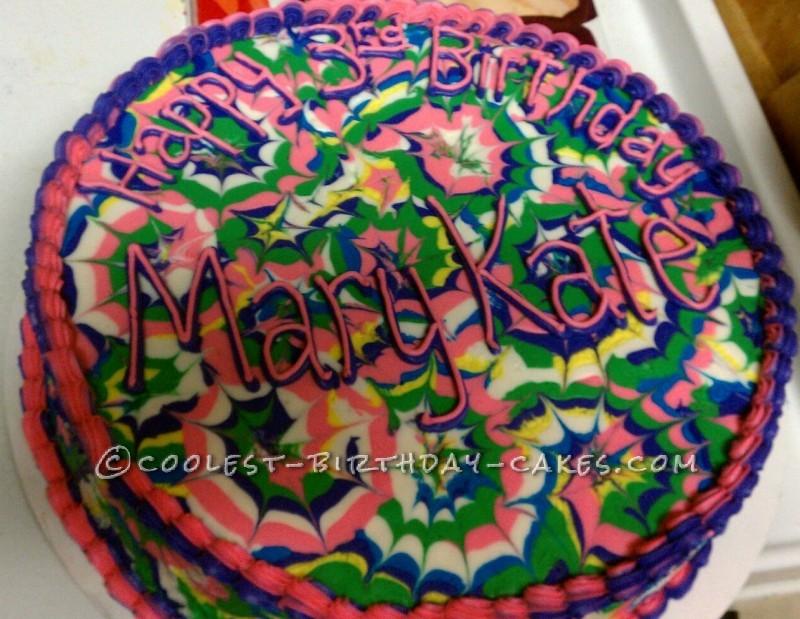 Coolest Tie Dyed Birthday Cake