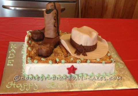 Superb Coolest Cowboy Boots And Hat Cake For Cowboy Birthday Funny Birthday Cards Online Inifodamsfinfo