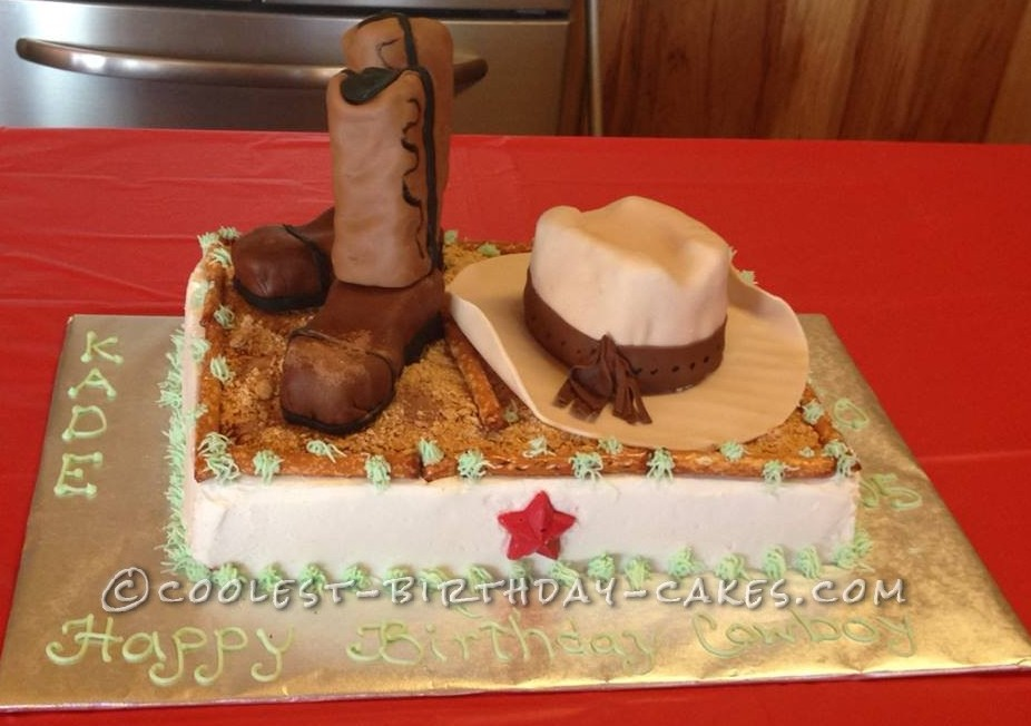 Coolest Cowboy Boots and Hat Cake for Cowboy Birthday
