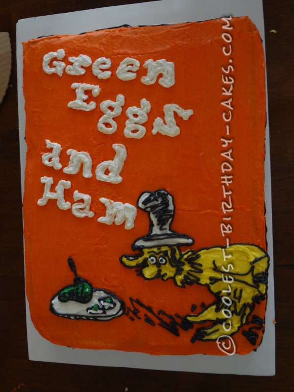 Coolest Green Eggs and Ham Birthday Cake