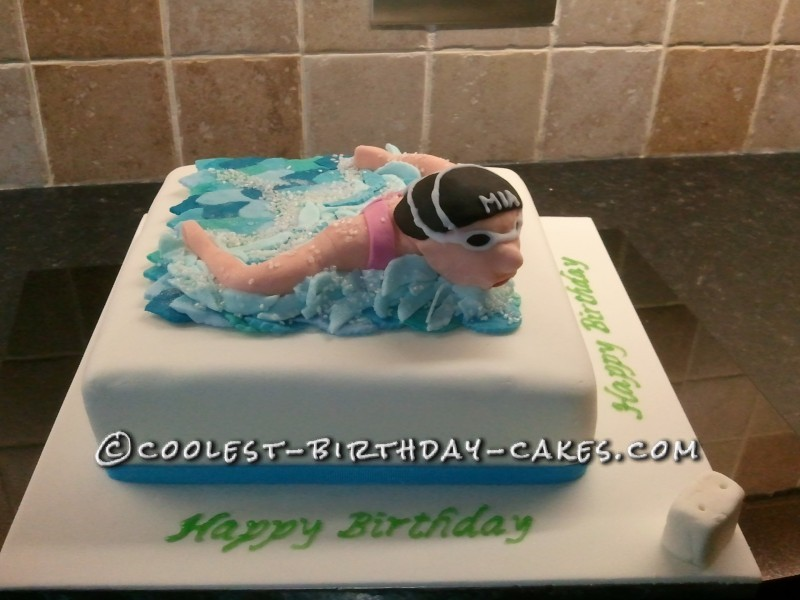 Cool Swimming Themed 10th Birthday Cake