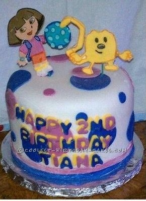 Coolest Wow Wow Wubbzy and Dora 2nd Birthday Fondant Cake
