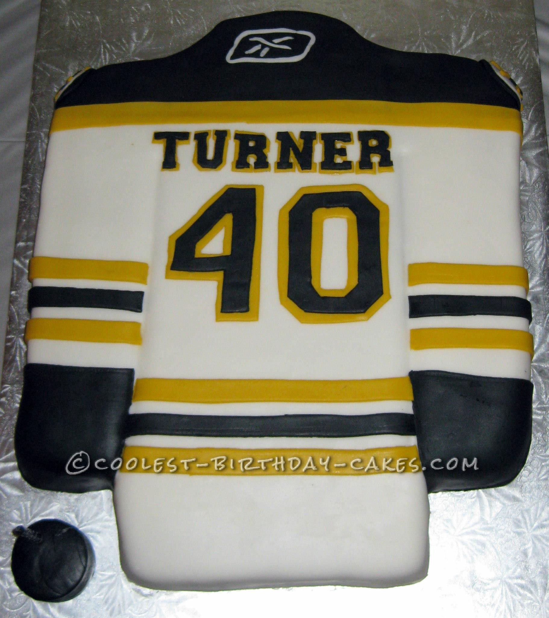 My Wife Took On This Boston Bruins Jersey Cake To Add Something Special 40th Birthday Party It Was A Trimmed Slab Covered In Fondant And Each