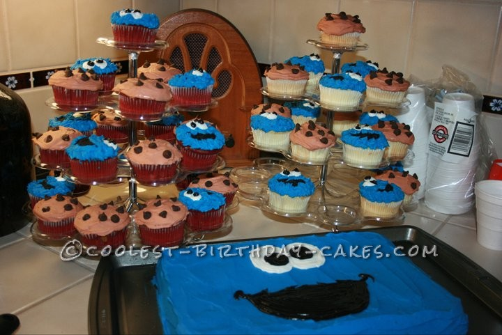 Coolest 1st Birthday Cookie Monster Cake