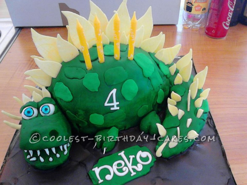 Strange Coolest Homemade 3D Dinosaur Birthday Cake For A 4 Year Old Personalised Birthday Cards Veneteletsinfo