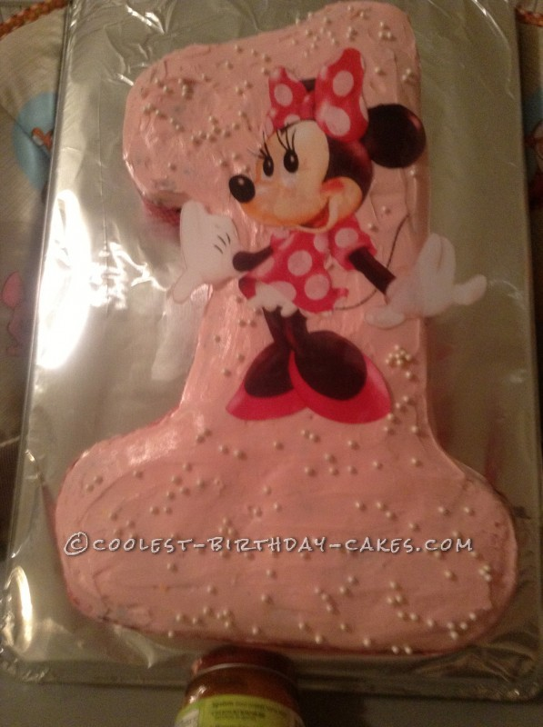 Cute Homemade Minnie Mouse 1st Birthday Cake