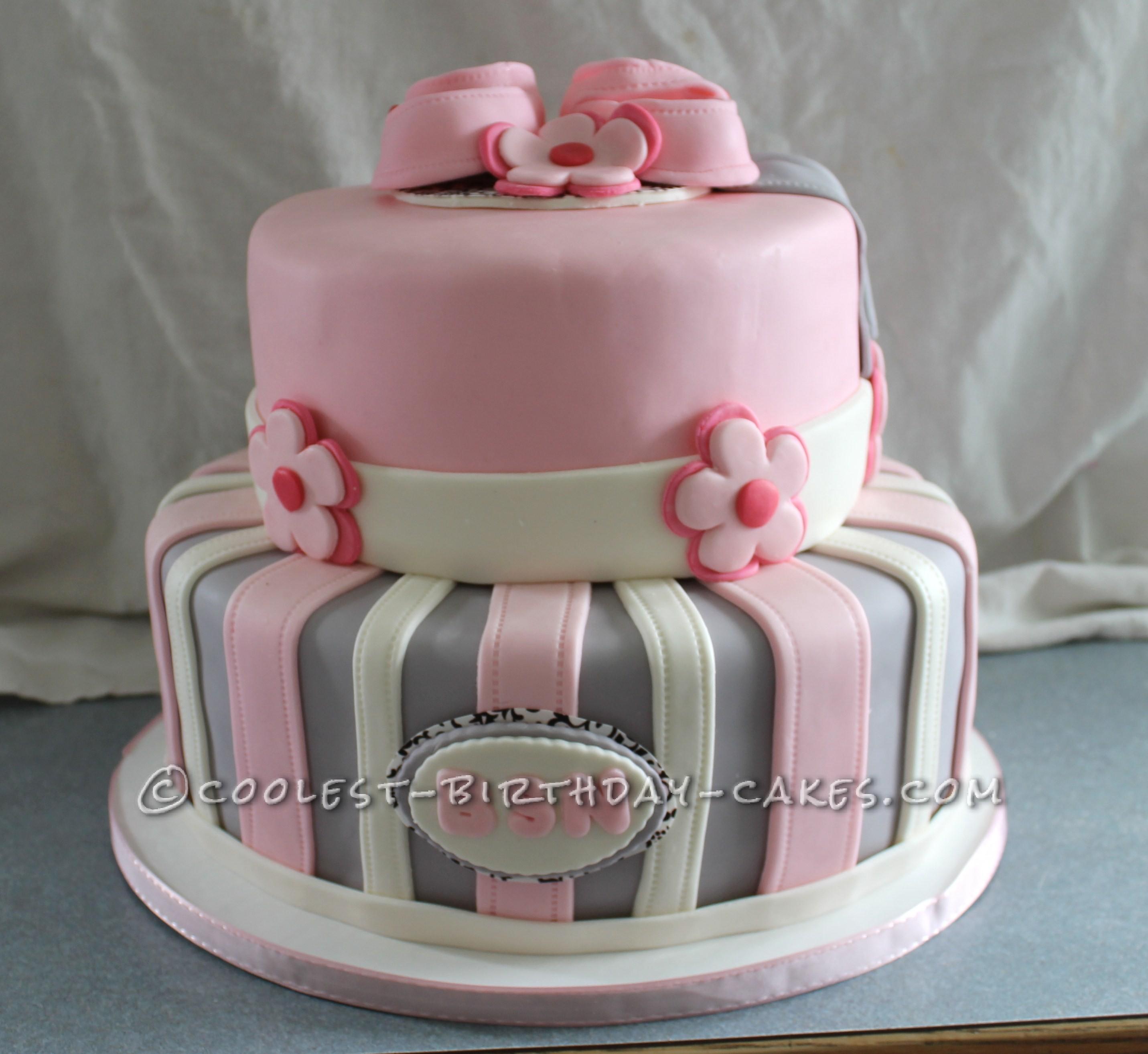 Tremendous Cool Shabby Chic Baby Shower Cake Personalised Birthday Cards Vishlily Jamesorg