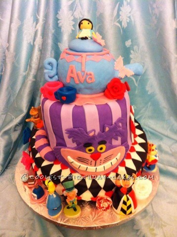 Coolest Topsy Turvy Alice in Wonderland Birthday Cake