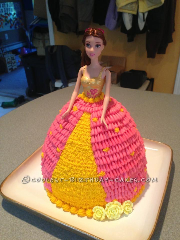 Cool Homemade Pink And Yellow Barbie Birthday Cake