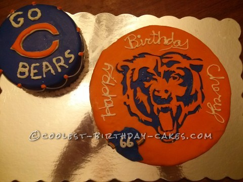Cool Homemade Chicago Bears Emblem Birthday Cake
