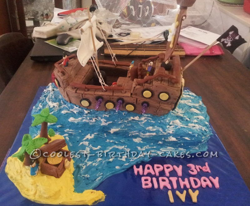 Remarkable Coolest Homemade 3Rd Birthday Pirate Cake Funny Birthday Cards Online Sheoxdamsfinfo